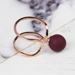 Burgundy  Ball Open Ring in Rose Gold