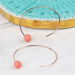 Coral Rubber Ball Through Earrings in Rose Gold