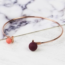 Double Ball Bangle in Rose Gold