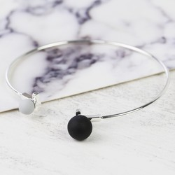 Double Ball Bangle in Silver