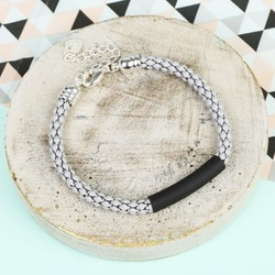 Grey Chain Bracelet with Black Bar