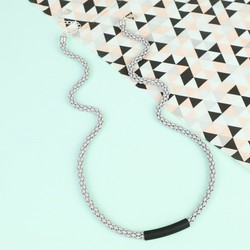 Grey Popcorn Chain Necklace with Black Bar