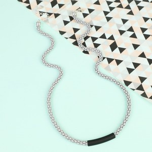 Grey Chain Black Bar Necklace with Silver Chain
