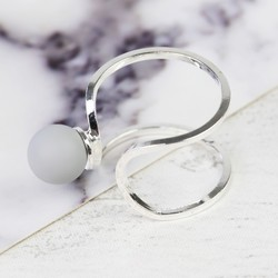 Grey Ball Open Ring in Silver