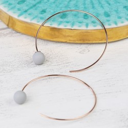 Grey Rubber Ball Through Earrings in Rose Gold