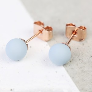Light Blue Rubber Ball Stud Earrings