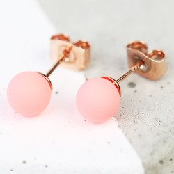 Neon Pink Ball Stud Earrings