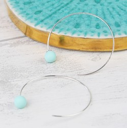 Pastel Green Rubber Ball Through Earrings in Silver