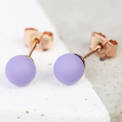Purple Ball Stud Earrings