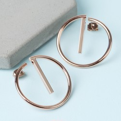 Rose Gold Geometric Hoop Stud Earrings