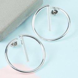 Silver Geometric Hoop Stud Earrings
