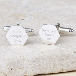Personalised Sterling Silver Hexagonal Cufflinks