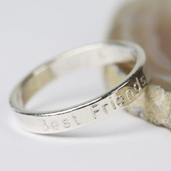 Personalised Sterling Silver 'Best Friends' Band Ring