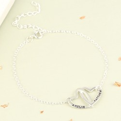 Personalised Sterling Silver Interlocking Hearts Bracelet