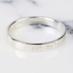 Sterling Silver 'La Vie Est Belle' Engraved Ring