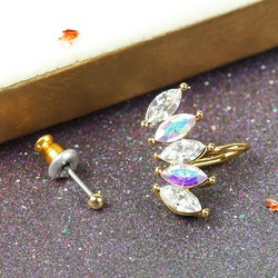 Orelia Mismatched Crystal Stud and Cuff Earrings