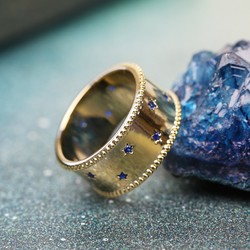 Orelia Bold Gold and Blue Star Ring