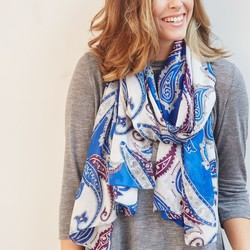 Blue and Purple Paisley Scarf
