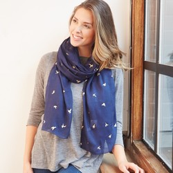Foil Flying Dove Scarf in Navy