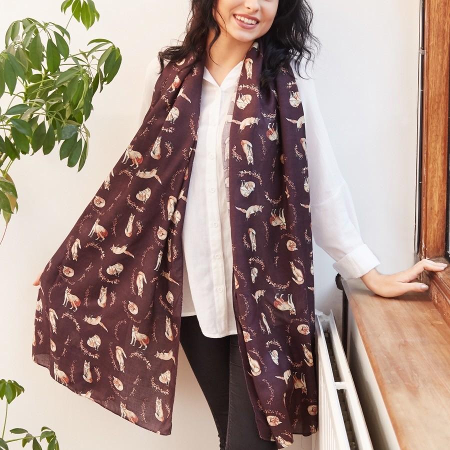 fox and blossom print modal scarf