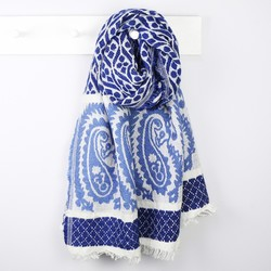 Bold Blue Woven Paisley Scarf