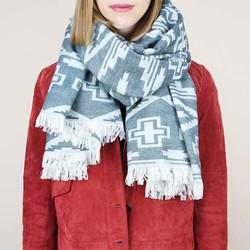 Nordic Blue Geometric Blanket Scarf