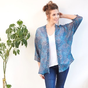 Peacock Feather Print Short Kimono