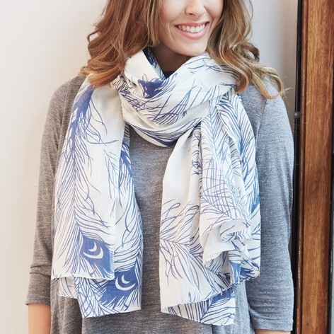 Peacock Feather Cotton Scarf