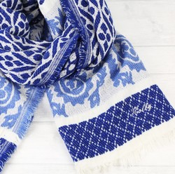 Personalised Bold Blue Woven Paisley Scarf