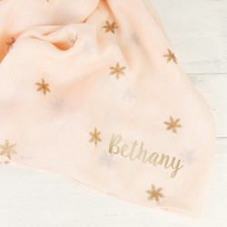 Personalised Foil Snowflakes Scarf in Pink