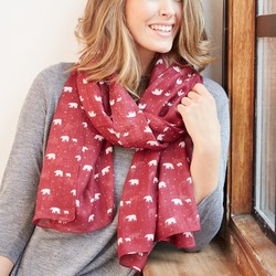 Polar Bear Print Scarf in Burgundy