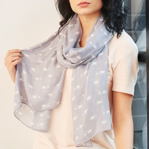 Polar Bear Print Scarf in Grey