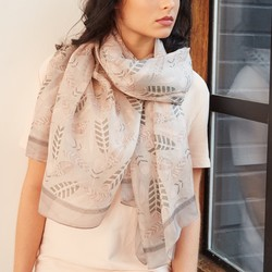 Silk Feather Scarf in Pink and Grey