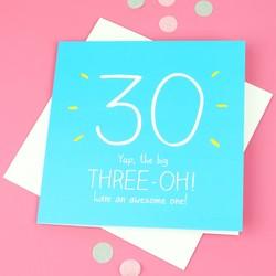 Happy Jackson '30 The Big Three-OH!' Birthday Card