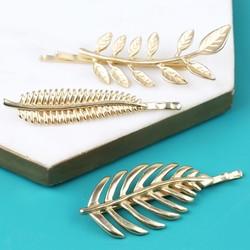 Powder Design Pack of 3 Leaf Hair Slides in Gold