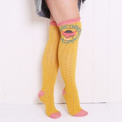Powder Design Long Fox Socks in Mustard