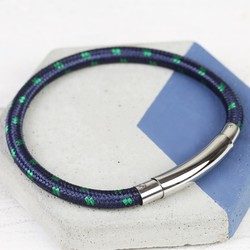 Men's Navy Cord Tube Clasp Bracelet