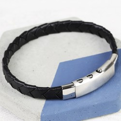Men's Black Woven Leather Bracelet