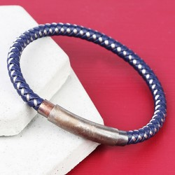 Men's Adjustable Leather and Wire Bracelet with Tube Clasp in Navy
