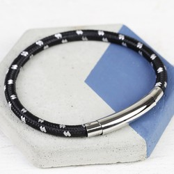 Men's Black Cord Tube Clasp Bracelet