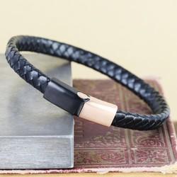 Men's Black Woven Bracelet with Brushed Black & Rose Gold Clasp
