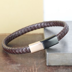 Men's Brown Woven Bracelet with Brushed Black & Rose Gold Clasp