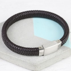 Men's Brown Woven Leather Bracelet with Square Clasp