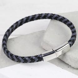 Men's Grey & Black Woven Leather Bracelet