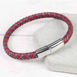 Men's Grey & Red Woven Leather Bracelet