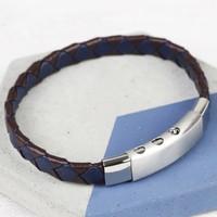 Men's Navy & Brown Woven Leather Bracelet