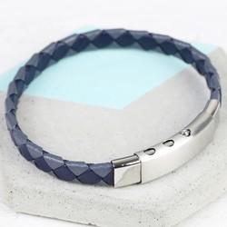 Men's Navy & Grey Woven Leather Bracelet