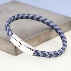 Men's Blue & Navy Woven Leather Bracelet