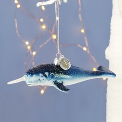 Sass & Belle Personalised Glittery Narwhal Hanging Decoration