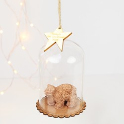 Sass & Belle Personalised Wooden Bear Cub Dome Bauble